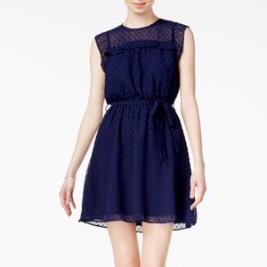 NWT MAISON JULES SWISS DOT NAVY BLUE DRESS #S17